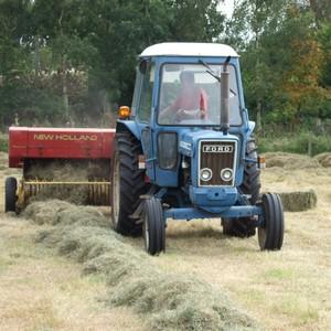 Ford 6600 baling hay using a New Holland baler