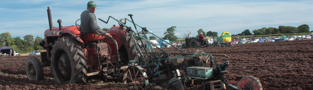 Ploughing with a tractor at a ploughing match